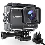 Crosstour Action Cam CT9500, 4K/50FPS 20MP WiFi EIS Stabilizzata Videocamera, Fotocamere Subacque Impermeabile 40M, 2 Batterie 1350 mAh con 19 Accessori...