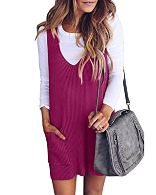 Material:Cotton & Spandex.The knit loose dress with high quality material, soft fabric. Features: womens tank dress, knit loose dress, knit overall dress, racerback sweater mini dress, ribbed dress for women short. Occasion: Suitable for any casual o...