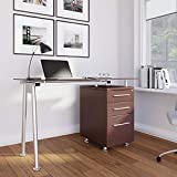Techni Mobili RTA-1565-CH36 Stylish Brown Tempered Glass Top Computer Desk with Storage, Chocolate