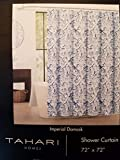 Tahari Imperial Damask Luxury Fabric Shower Curtain Blue and Gray on White 72' x 72'