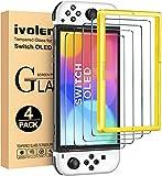 iVoler 4 Pezzi Pellicola Vetro Temperato Compatibile con Nintendo Switch OLED Modello 7 Pollici Modello 2021, Strumento di Installazione Incluso, Pellicola Protettiva Protezione Schermo Anti Graffio