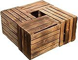 Kistenkolli Lot de 4cagettes à fruits/vin En bois massif style rétro 50x 40x 30cm Passé au chalumeau