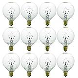 Sunlite 40153-SU G16.5 Globe Light Bulbs 25 Watts, Candelabra Base (E12), 120 Volt, Incandescent, Dimmable, 12 Pack, 32K - Warm White