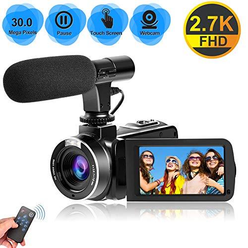Videocamera Videocamere per Youtube, Videocamera per Vlogging con Microfono 2.7K Ultra HD 30MP 18X Zoom Digitale 270 Gradi Videocamere Touch Screen Ruotabili Supporto Telecomando