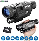 """ESSLNB Night Vision Monocular 5X40 Night Vision Infrared IR Camera HD Digital Night Vision Scopes with 1.5"""" TFT LCD Take Photos and Video Playback Function 16G TF Card for Hunting Security Surveilla"""