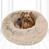 Friends Forever Luxury Pet Calming Bed for Dogs   Faux Fur Anti Anxiety Dog Beds Cute Fluffy Round Pillow Cuddler   Donut beds for Cats & Medium Size Dogs - Tan Small 23x23