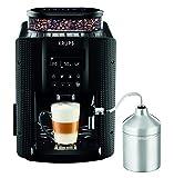 Krups Essential Machine à Café à Grain, Machine à Café, Broyeur Grain, Cafetière Expresso, Ecran LCD, Nettoyage Automatique, Buse Vapeur, Pot à Lait Inox Cappuccino EA816031