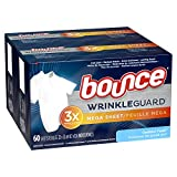 Bounce WrinkleGuard Mega Dryer Sheets, Fabric Softener and Wrinkle Releaser Sheets, Outdoor Fresh Scent, 120 Count (Pack of 2, 60 Count Each)