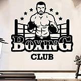 Adhesivo de pared de vinilo Banner de boxeo personalizable Deportes Fitness Boxeo Deportes Fitness
