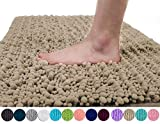 Yimobra Original Luxury Chenille Bath Mat, Soft Shaggy and Comfortable, Large Size, Super Absorbent and Thick, Non-Slip, Machine Washable, Perfect for Bathroom (31.5 X 19.8 inch, Camel)
