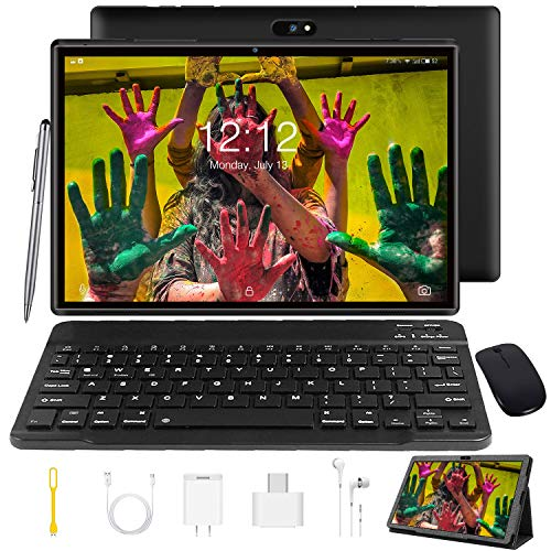 Tablet 10 Zoll Android 9.0 Tablet PC Mit Tastatur 4G LTE SIM, 3 GB RAM + 32 GB ROM, Quad-Core-Prozessor, GMS-Zertifizierung, 8000 mAh, 1080p Full HD IPS-Display, WLAN / Bluetooth / GPS Windows Tablet