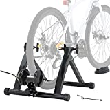 Walmann Bike Trainer Stand Portable Indoor Stationary Bicycle Exercise Magnetic Resistance with Front Wheel Riser Block and 6 Variable Speed Level, Quick Release - for Road & Mountain Bikes
