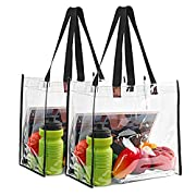 STADIUM APPROVED: Clear stadium bag suitable for workplaces that require clear bags and meets football tournament guidelines. STRONG AND DEPENDABLE: It is made of from 0.4 mm thick vinyl and denim. More durable and strong! PERFECT SIZE: It measures 1...