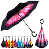 EEZ-Y Inverted Umbrella with Windproof Double Layer Construction - Reversed Folding for Car Use -...