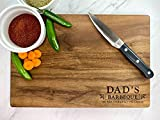'Dad's BBQ' Engraved Walnut Cutting Board with Juice Groove. Fathers Day, Birthday, Christmas Gifts.