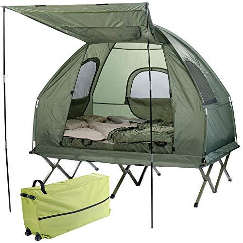 Semptec Urban Survival Technology Camping Bett: 4in1-Doppelzelt, Feldbett, 2 Winterschlafsäcke, Matratze, Sonnenschutz (Campingzelt)