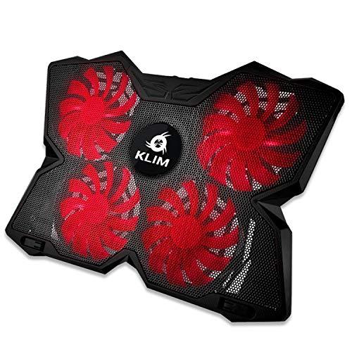 KLIM Wind - Refroidisseur Ordinateur Portable + Le Plus Puissant + Refroidissement Ultra Rapide + 4 Ventilateurs Silencieux + Refroidisseur PC Portable PS4 Xbox - Version 2020 - Rouge et Noir