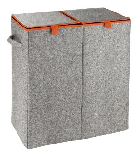 Wenko Wäschesammler Duo - Wäschekorb, 2 Kammern und Klappdeckel Fassungsvermögen: 82 l, Filz, 52 x 54 x 28 cm, grau