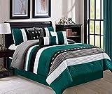 JBFF 7 Piece Oversize Stripe Luxury Micofiber Bed in Bag Microfiber Comforter Set, Teal, King