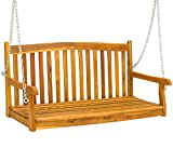 Best Choice Products 48in Wooden Curved Back Hanging Porch Swing Bench w/Metal Chains for Patio, Deck, Garden - Brown