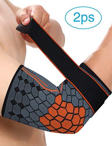 MILANKERR Ellenbogenbandage Damen Tennisarm 1 Paar Bandage mit Klettverschluss Atmungsaktive beim Sport Fußball Volleyball Fitness Organge M