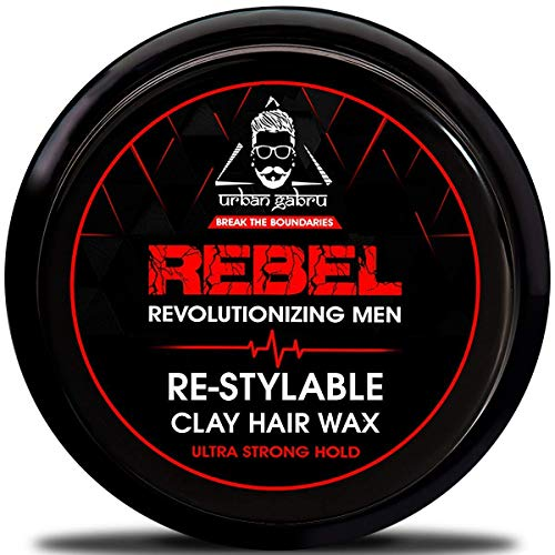 Urbangabru Rebel Hair styling clay Wax for Men strong hold- 100 Times Re-Styleable & matte finish with keratin (safe & natural) - 85 Gram