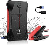 FLYLINKTECH Car Jump Starter 800A Peak 12V (up to 4.0L Gas Or 2.0L Diesel Engine), 12000mAh Portable Power Pack Battery Booster with Smart Safe Jumper Cable, LED Flashlight,EC5 Car Cigarette Lighter
