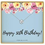 KEDRIAN 50th Birthday Necklace, 925 Sterling Silver, 50 Birthday Gifts Necklaces for Women, Pendant Gift for 50 Year Old Woman Birthday, Ideas for 50th Birthday Gifts for Her, 50 and Fabulous Jewelry