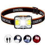 OMERIL Lampe Frontale LED USB Rechargeable avec 200 Lumens 5 Modes D'éclairage Lumière Blanche et...