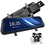 2.5K Mirror Dash Cam Voice Control, Dual Dash Cam with 10' Touch Screen, Rear View Mirror Camera, Waterproof Backup Camera, Parking Assist, Smart Parking Mode, Loop Recording, G-Sensor