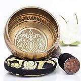 Silent Mind ~ Ensemble de bols de chantant tibétain ~ Design de Mantra ~ Maillet à double surface et coussin de soie ~ Favorise la paix, la guérison des chakras et la pleine conscience ~ Cadeau exquis