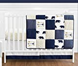 Navy Blue, Gold, and White Patchwork Big Bear Boy Baby Crib Bedding Set by Sweet Jojo Designs - 4 Pieces