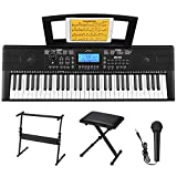 Donner DEK-610 beginner Electronic piano 61 Key electric keyboard with Full-Size Keys, Include a Music Stand, Keyboard Stand, Stool, Microphone