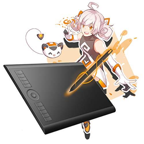 GAOMON M10K 2018Version-Tablette Graphique 10 x 6.25 Pouces avec Stylet Passif et 8192 Niveaux de Pression (M10K2018)