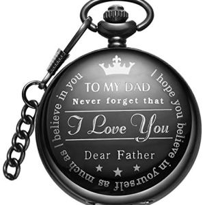 LYMFHCH Mens Unique Pocket Watch Personalized Pattern Steampunk Retro Vintage Quartz Roman Numerals Pocket Watch with Chain Father Gift Black