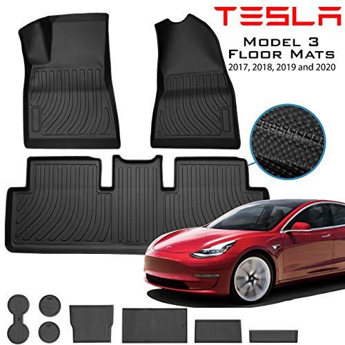 Homeland Hardware (Sale) Tesla Model 3 Floor Mats Liners (US Based) Interior Set in Black for Models All-Weather 4D Multi-Layer Custom Laser Cut 4D Max Chain Rolled Carbon Series Non Slip