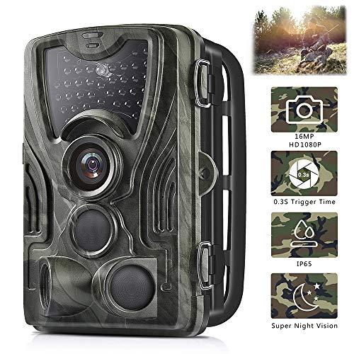 Micoke Caméra de Chasse 16MP 1080P HD avec 3 Capteurs de 36 IR Capteurs à LED Infrarouges Angle Infrarouge Détection de 120 ° Vision Nocturne de 85 Pieds / 25 Mètres Pour Chasse et Sécurité à Domicile