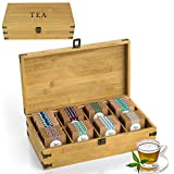 Zen Earth Bamboo Storage Box Tea Chest | Large 8-Slot Wooden Kitchen Organizer with Tall, Adjustable Shelves | Natural Bamboo Decorative Chest to Organize and Display Teas | 100% Handmade Craft