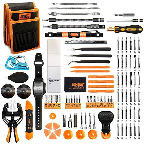Jakemy Screwdriver Set, All in 1 with 50 Magnetic Precision Driver Bits, Repair Tool kit with Pocket Tool Bag for iPhone, Computer, Macbook, Cell Phone, PC, Laptop, Tablet, Game Console (107-IN-1)