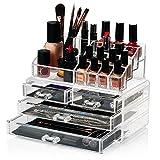 HBF Organizador De Maquillaje Acrílico (4 cajones+16 compartimientos) Caja De Cosméticos...