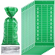 Package includes: 100 pieces double side football field cellophane bags with 100 pieces silver twist ties; With these football field cellophane bags on your team of game day, you can't lose Material and sizes: these green candy bags are made of opp, ...