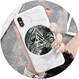Marble Leaf Phone Case for iPhone X Case for iPhone 6 6S 7 8 Plus Cover Retro Summer Leaves Cases Fashion Soft IMD Capa,Style 2,for iPhone 6 6S