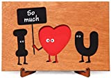 Wood Love Card with Stand, funny Wooden Gift for Valentine's Day,...