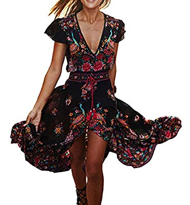 Short Sleeve, Floral Print, Ruffle, Buttons Up, Flowy Maxi Dresses with Slit vintage Print Empire Waist, Asymmetrical Hem A Line Dresses Please Refer to the Product Description for Detailed Size Information Below Before Ordering Washing instructions:...