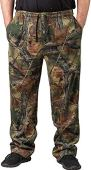 TrailCrest Men's Open Bottom Cotton Blend Cozy Sweatpants with 3 Pockets Yoga Lounge Hunting, 2X Green