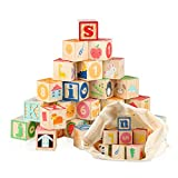 Jamohom Wooden ABC Building Blocks for Toddlers 1+Baby Wood Alphabet Number Blocks 26 PCS for...