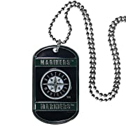"""Officially licensed MLB product licensee: Siskiyou buckle 26"""" ball chain High polish finish Perfect game day accessory Seattle Mariners tag with enameled colors"""