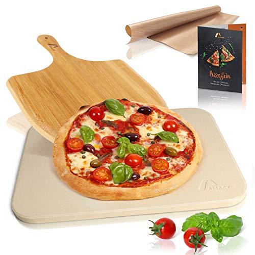 Amazy Pietra refrattaria per pizza da forno, incl. Pala in bamb, Carta da forno riutilizzabile e...