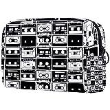 Neceser de viaje grande para mujer – Neceser de viaje y cosméticos neceser con muchos bolsillos, patrón de cintas Autio antiguas retro