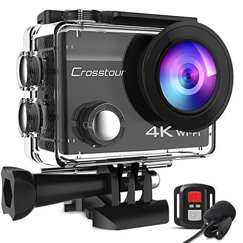 Crosstour 4K 20MP Action Cam Anti-Shake Microfono Esterno WiFi Time Lapse Subacquea 40M Videocamera Telecomando Impermeabile 170° Grandangolare 19 Accessori